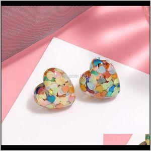 S1556 Fashion Jewelry Love Sequins Resin Simple Sweet Peach Heart G1Hbi Hc8I1
