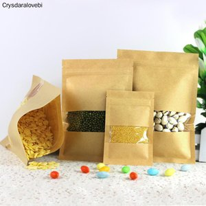 Pcs Kraft Paper Bag With , Reusable Sealing Pouch Clear Window For Storing Cookie Dried Snack Gift Wrap