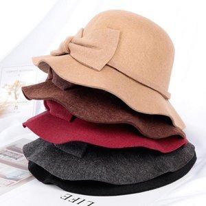 Cloches Fashion Casual Comfortable Solid Autumn Winter Unisex Men Women Elegant Bowknot Wide Side Dome Cap British Top Hat Fishmen Hat#D