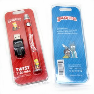 Backwoods Twist Battery Kits with USB Chargers 1100mAh Variable Voltage VV Atomizers 510 thread 4 colors available
