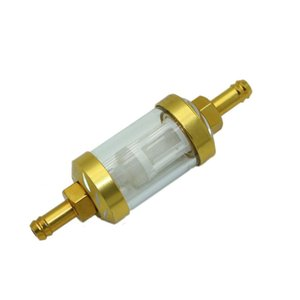 Parts Motorcycle Aluminum Metal Gas Fuel Filter Gold Glass Fits 8mm Inline Universal Hose Filters For ATV UTV Motor