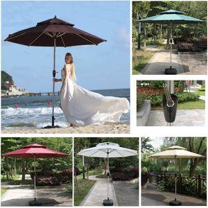 Parapluie de jardin en aluminium en aluminium extérieur avec tremblements solaire Tables andolles et chaises avec des tables anti-pluie et des chaises Support Pole Beach HH21-210