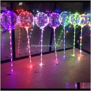 Other Festive Supplies Bobo Bubble Transparent Balloons Led Lights Wedding Birthday Party Decor Home Decoration Balloon Light Ljjk2511 1G6Jb