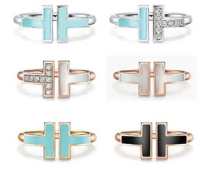 Tiff ring 925 sterling silver exquisiteopen Band Rings, brand classic mother-of-pearl double T ring women Heart With official logo
