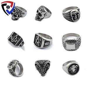 Ring mysterious Masonic skeleton ghost personality titanium steel domineering ring men