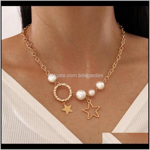 Chokers Multilayer Clavicle Chain Imitation Pearls Choker For Women Statement Circle Star Pendant Necklace Sets Jewelry 77Yov Jlodg