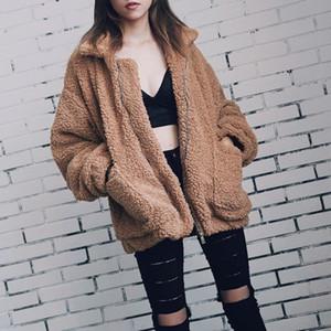 Elegante casaco de pele falso mulheres outono inverno quente zíper zíper jaqueta feminino adjogo de pelúcia bolso descuidado casual outwear