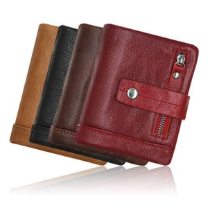 Men short organizer wallet Solid color Hasp Mini Wallets Mens bags wholesale Credit Card Genuine leather Black red grey Q75X40