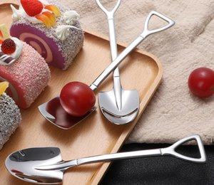304 Stainless Steel Spoon Mini Shovel Shape Coffee Spoons Cake Ice Cream Desserts Scoop Fruits Watermelon Scoops DHF6363