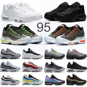 Nike air max 95 حذاء جري ثلاثي أسود أبيض نيون ليزر فوشيا أحمر أوربت ولدت أكوا 95s رجال مدربين أحذية رياضية أحذية مقاس 40-45