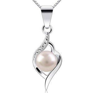 6.5mm rotondo naturale perle d'acqua dolce perla ciondolo donne gioielli in argento sterling in argento sterling catena di scatole da 45cm