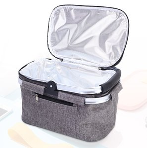 Folding Picnic Camping Lunch Bag Insulated Cooler Boxes Cool Hamper Storage Basket Box Outdoor Portable Dinner Baskets Handheld thermal insulation Bags