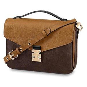 Designer Luxo Satchel Messenger Bolsa De Couro Strim Handles com alça de ombro saco crossbody bolsas francesas M41056; OntheGo