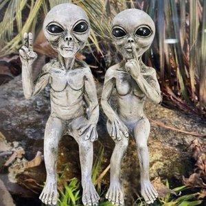 Alien Statue Martians UV Resistant Waterproof Garden Miniature Figurine Resin Action Figures Kid Gift Decorations