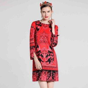vestido seqiny ed vintage 2021 primavera verano mujer moda imprimido manga larga elegante cuello recto mini