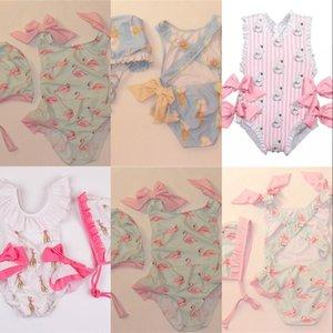 Baby Girls Beautiful Swimming Wear Suits Lovely Ice cream Bear Giraffe Swimsuits Child Fashion Swimwear 663 X2
