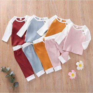 Boys Girls Designer Clothing Sets Suits Fashion Kids Striped Tops Pants Suits Children Solid T-Shirts Pants Two-piece Casual Outfits zyy602