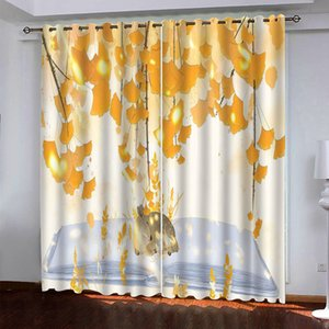 Creative 3D Curtains Leaves High Quality Silk Blackout Curtain Drapes For Living Room Bedroom Window Treatment