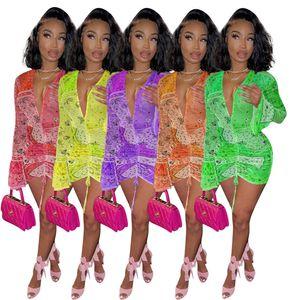 Vestido casual para mujer Falda de fiesta Sexy apretada de seda de seda impresión profunda con cuello en V Ropa 2021 Tamaño S-XL