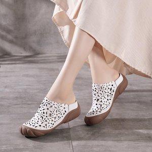 슬리퍼 샌들 숙녀 2021 여성 여성의 발 뒤꿈치 뮬 웨지 웨지 샌들 Claquette Femme Luxe 신발 여성을위한