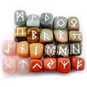 25pcs Natural Crystal Prototype Loose Gemstones Divination Fortune-telling Energy Stone Rune Reiki Heal Religious Jewelry Engraved Futhark Viking Runes Ornament