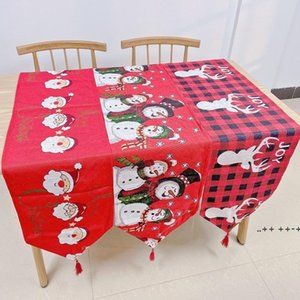 Christmas Table Runner Embroidered Tapestry with Tassels Santa Linen for Wedding Banquet Party Home Decoration Tablecloth 33*180cm EWA8839