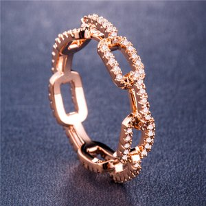 Band Rings Creative Chain Zircon Wedding For Women Sier Rose Gold Copper Rhinestone Ring Engagement Jewelry Egz1C Fnik3 820 T2