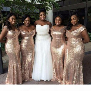 Sparkly Gold Sequins Cheap Mermaid Bridesmaid Dresses Off Shoulder Backless African Plus size Beach Wedding Gowns