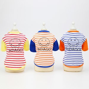 Dogs Clothes Dog Apparel Pet Spring and Clothing 21 Smiley Face Stripe T-shirt Summer Thin