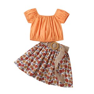 Girls Sets Kids Suits Clothing Child Outfits Summer Sweet Short Sleeve Tops Flower Belts Skirts Beach Baby Clothes 2-6T B4626