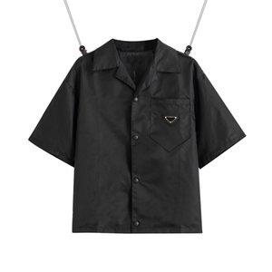 2021 미국 유럽 여자 망 셔츠 캐주얼 브랜드 짧은 블라우스 클래식 거꾸로 된 삼각형 느슨한 수입 고품질 나일론 툴링 EUR 크기 여름 탑스