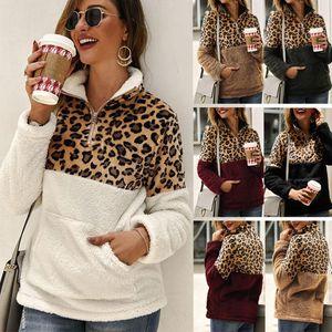 Leopard Patchwork Plus Size Fluffy Sweatshirt Women Zip Fleece Casual Oversized Hoodies Winter Pullover Hoody Ladies