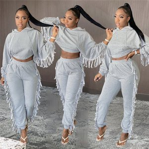 Women designer tassel outfits 2 piece set solid color fall winter casual clothing tracksuits S-2XL long sleeve hoodies pants sweatsuit