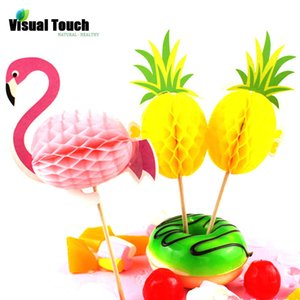 Visual Touch 10X Honeycomb Ball 3D Baking Cake Topper Wedding Flamingo Pineapple DIY Party Cupcake Insert Card Decor Baby Shower dsf0506