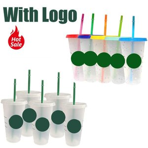 700ml 24oz Plastic Cups With Lid And Straw With Color Changing Coffee Cup Portable Cup Tumbler Matte Finish Plastic Cup H0831