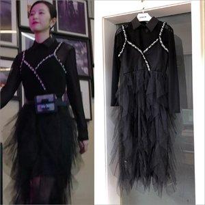 Zhou Yutong y Lu Fangning el mismo vestido de malla de cuentas de clavos de encaje negro.