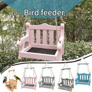 Wooden Bird Feeders Hanging Type Outdoor Pet Seeds Feeder Tree Garden Bucket Holder Feed Station Other Supplies