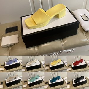 [With box]Preferential Women Rubber Slide Slippers Chunky Heel Black Red Green Yellow Platform Slides Fashion Multicolor Slipper Casual Flip Flops Lady Mules
