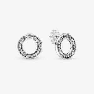 100% 925 Sterling Silver Logo Circolo cerchio Orecchini a borgo reversibile Pavimentazione Zirconia Zirconia Moda Donna Wedding Engagement Accessori per gioielli per regalo