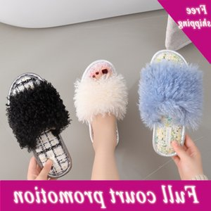 New girl's soft velvet flat heel Suede Sandals plush shoes home Korean fashion slippers