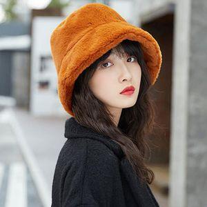 Winter Women Plush Fishman Hat Casual Ear Protector Thicken Wide Brim Hat Fashion Solid Color Bucket Cap