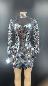 캐주얼 드레스 빛나는 실버 스팽글 드레스 가수 댄서 무대 의상 여성 나이트 클럽 생일 파티 섹시한 클럽 성능 의류