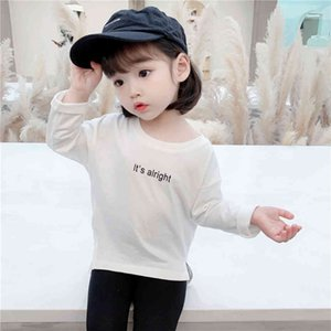 Children's T-shirts Letter Baby Girls T Shirts Casual Style Kids Tops Spring Autumn Girls Clothing 210412