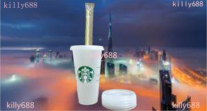 50 قطعة من Starbucks 710ML البلاستيك Tumblers، قابلة لإعادة الاستخدام، شقة شفاف شرب، الأعمدة مغطاة Sippy، شحن مجاني بواسطة Bardian