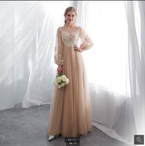 2021 robe de soiree champanhe tulle uma linha vestidos de baile laço apliques manga longa modesto formal tapete vermelho vestido de noite chão comprimento vintage elegante vestidos de festa elegante