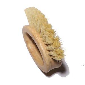 Wooden Handle Cleaning Brush Creative Oval Ring Sisal Dishwashing Brushs Natural Bamboo Household Kitchen Supplies HWF6309