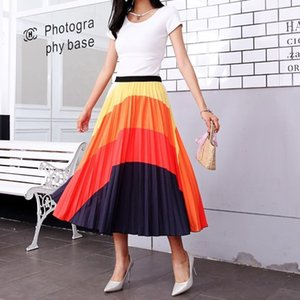 Long Skirts Womens Rainbow Discoloration Silk Surface Retro Women High Street Style A-Line Pleated Midi Skirt Big Swing2021 Summer