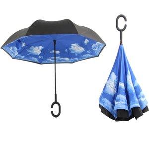 Folding Design Double Layer Inverted Umbrella Self Stand Rain Reverse Car Umbrellas Parasol Windproof Raining Drop Commission LOGO ZXFHP0732