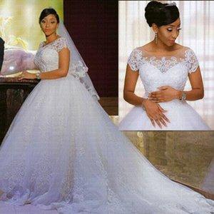 Applications Vintage African Edge Wedding Dress 2021 Short Mouwen Cheap Vestido Noiva Robe De Mariee Bride Dresses
