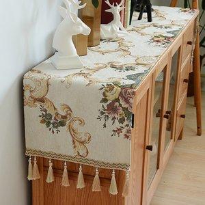 Гордая розовая европейская CHENILLE стол бегун скатерть телевизор кабинета крышка столовая коврик обувь кабинета крышка полотенце ткань с кисточкой 1139 v2